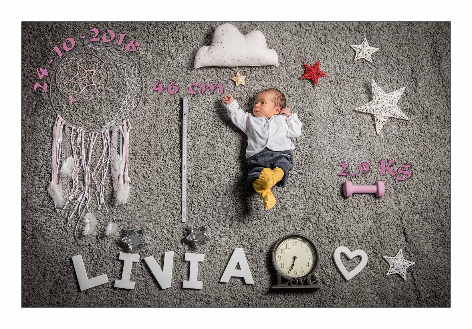 Séance photo pour le faire part de naissance de Livia