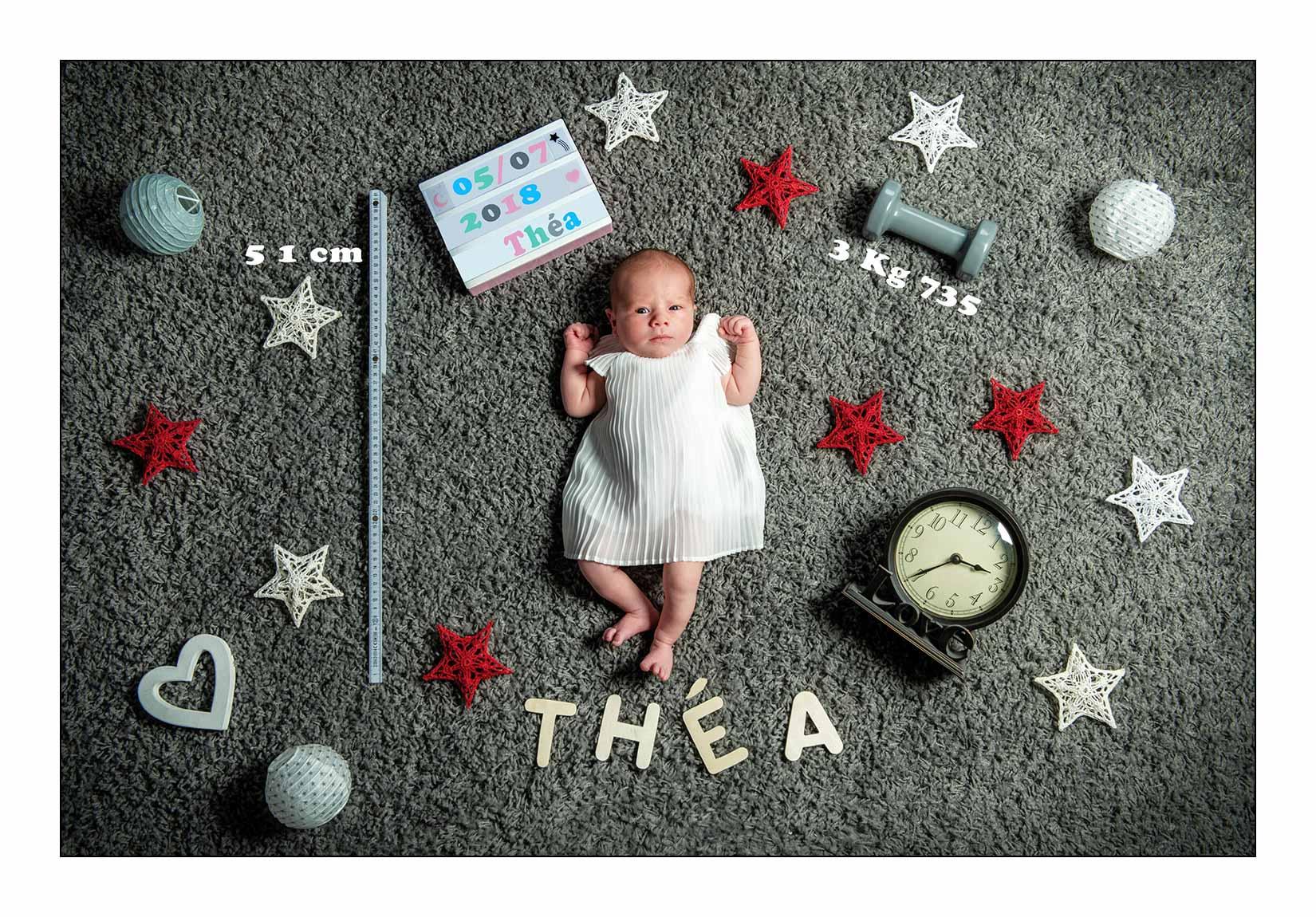 Mise en scène sur un tableau photo pour la naissance de Thea